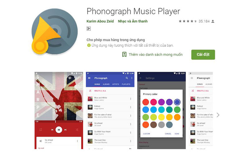 Ứng dụng nghe nhạc offline Ponograph cho phép người dùng có thể cá nhân hóa giao diện