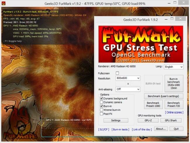 Furmark có thể giả lập các lỗi thường gặp của card VGA và đưa giải pháp khắc phục