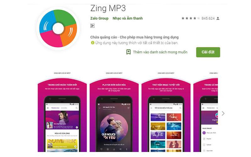 Ứng dụng nghe nhạc online Zing Mp3 khá phổ biến với người dùng Android tại Việt Nam
